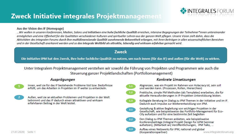 zweck initiative integrales projektmanagement