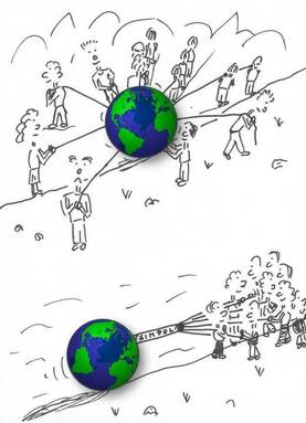 pulling the world cartoon small